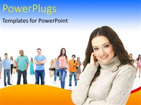 PowerPlugs: PowerPoint template with a pretty lady smiling in front of other students