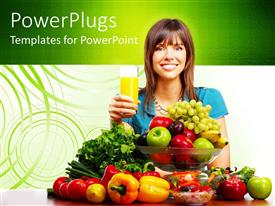 PowerPlugs: PowerPoint template with pretty lady smiling and holding a glass of juice with lots of fruits on front of her