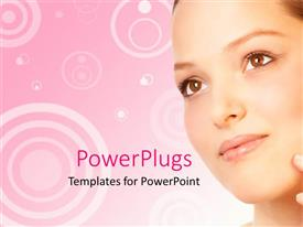 PowerPlugs: PowerPoint template with a pretty lady smiling with a pink floral background