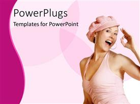 PowerPlugs: PowerPoint template with pretty lady smiling on a pink and white background