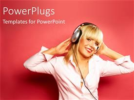 PowerPlugs: PowerPoint template with a pretty lady smiling and wearing a large headset