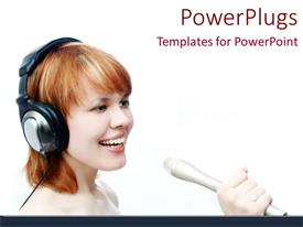 PowerPlugs: PowerPoint template with a pretty lady wearing headphones and singing into a microphone