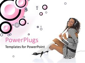 PowerPoint template displaying a pretty lady wearing headphones on a white background