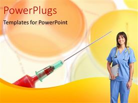 PowerPlugs: PowerPoint template with a pretty lady wearing a medical outfit and smiling