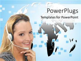 PowerPlugs: PowerPoint template with a pretty lady wearing a white headset with a globe background