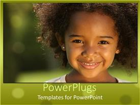 PowerPlugs: PowerPoint template with pretty little girl smiling happily on a blurry background