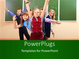 PowerPlugs: PowerPoint template with pretty little kids celebrating in classroom with chalkboard behind