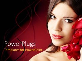 PowerPlugs: PowerPoint template with a pretty looking lady on a red colored background
