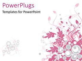 PowerPoint template displaying a pretty pink colored floral design on a white background