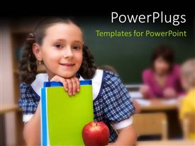 PowerPlugs: PowerPoint template with a pretty school girl holding some books with  a red apple