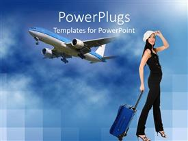 PowerPoint template displaying a pretty skinny lady with a traveling box and an airplane
