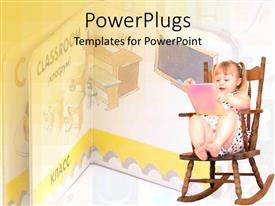 PowerPoint template displaying pretty small female kid on a rocking chair with a pink book