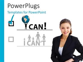 PowerPoint template displaying a pretty smiling business lady standing with a tick box and some text