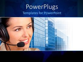 PowerPoint template displaying a pretty smiling call center lady with sky scrappers behind