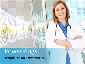 PowerPlugs: PowerPoint template with a pretty smiling female doctor standing in a hospital hallway