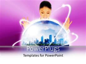 PowerPlugs: PowerPoint template with a pretty smiling lady with her hands open over a globe