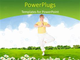 PowerPlugs: PowerPoint template with a pretty smiling lady having some exercise on a plain field
