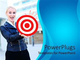 PowerPlugs: PowerPoint template with a pretty smiling lady holding out a red and white target