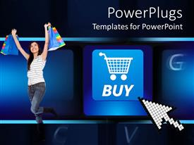 PowerPoint template displaying a pretty smiling lady holding up shopping bags with a keyboard background