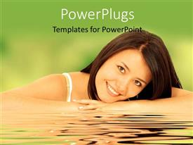 PowerPlugs: PowerPoint template with a pretty smiling lady lying on a reflective surface