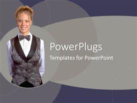 PowerPoint template displaying a pretty smiling lady over an ash colored background
