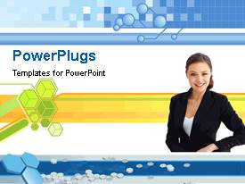 PowerPlugs: PowerPoint template with a pretty smiling lady standing beside some yellow and green cubes