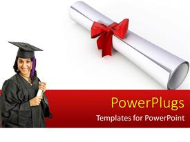 PowerPlugs: PowerPoint template with a pretty smiling lady wearing a black graduation gown