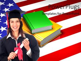 PowerPlugs: PowerPoint template with a pretty smiling lady wearing an graduation gown with the USA flag behind her
