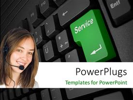 PowerPlugs: PowerPoint template with a pretty smiling lady wearing a head set on a keyboard background
