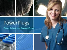 PowerPlugs: PowerPoint template with a pretty smiling lady wearing a medical out fit and stethoscope