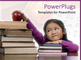 PowerPlugs: PowerPoint template with pretty smiling young girl with a stack of books and an apple