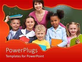 PowerPlugs: PowerPoint template with a pretty teacher with lots of small students smiling happily