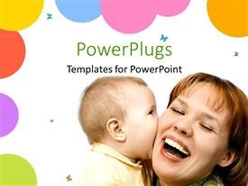 PowerPlugs: PowerPoint template with pretty woman and her baby playing on a white background