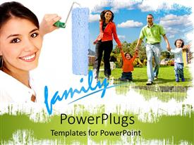 PowerPlugs: PowerPoint template with pretty woman smiles as she paints a happy family of four with roller
