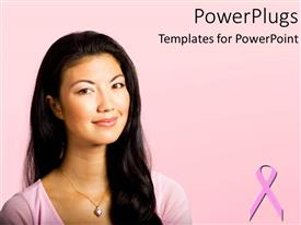 PowerPlugs: PowerPoint template with pretty woman smiling on a pink background with breast cancer symbol