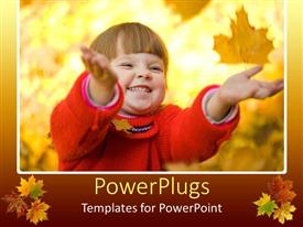Amazing PPT theme consisting of pretty young baby smiling and holding out hands on yellow leaves