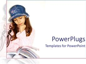 PowerPlugs: PowerPoint template with pretty young female reading a book with a blue hat