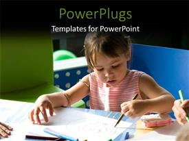 PowerPlugs: PowerPoint template with a pretty young girl drawing in a classroom