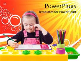 PowerPlugs: PowerPoint template with pretty young girl painting a drawing on a colorful table