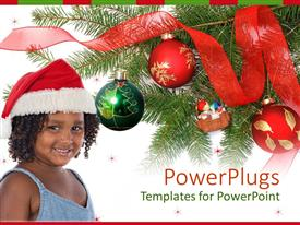 PowerPlugs: PowerPoint template with a pretty young smiling girl wearing a christmas cap