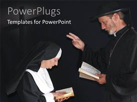 PowerPlugs: PowerPoint template with a priest and nun praying in deep thoughts depicting christianity with black color