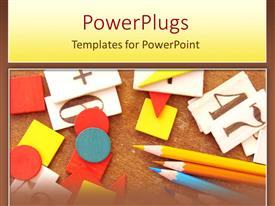 PowerPoint template displaying primary education learning materials, colored pencils and number boards