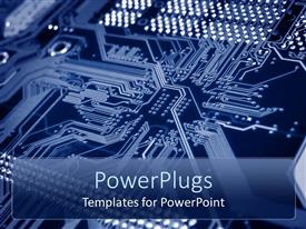 PowerPoint template displaying printed circuit board with bus lines and drilled component slots