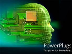 PowerPlugs: PowerPoint template with printed circuit board embedded in human head depicting robotics