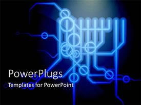 PowerPlugs: PowerPoint template with printed circuit board schematic diagram with connections points on black background