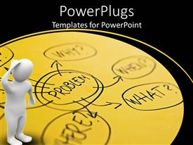 PowerPlugs: PowerPoint template with problem solving graphic with problem word in center and problem related questions pointing from the problem and 3D white figure thinking
