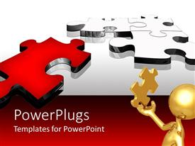 PowerPlugs: PowerPoint template with problem solving metaphor with gold man holding puzzle piece, red and silver puzzle