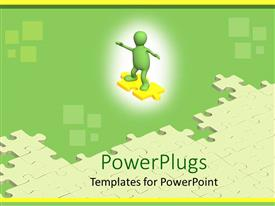 PowerPoint template displaying problem solving metaphor with green man sliding on yellow puzzle piece toward jigsaw puzzle