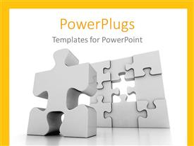 PowerPlugs: PowerPoint template with problem solving metaphor with one piece left in silver jigsaw puzzle