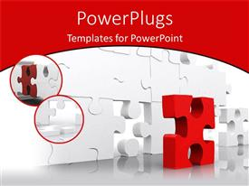 PowerPlugs: PowerPoint template with problem solving metaphor with red puzzle piece and white jigsaw puzzle